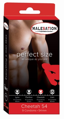 Condooms Malesation Perfect size Cheetah, 9 stuks, 54 mm.