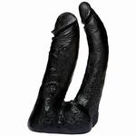 Vac-U-Lock CodeBlack Double penetrator dildo zwart, 15 cm
