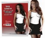 Sexy PVC schort 'Bitch'- zwart/wit